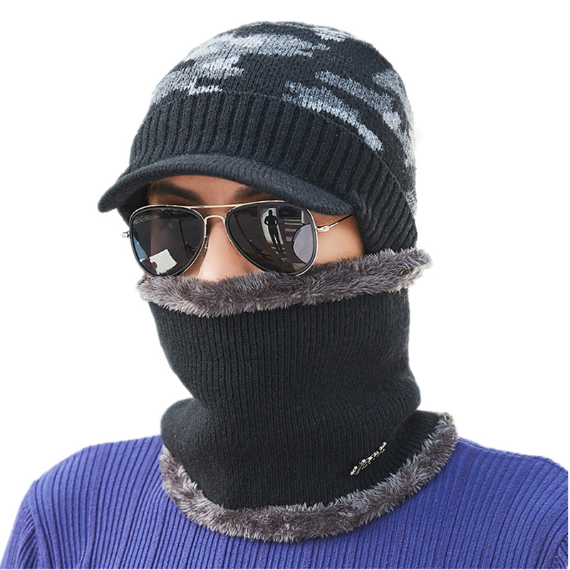 Skullies     Beanies   Men Knitted Hat Cap Male Scarf Gorras Bonnet Warm Wool Plus Thick Winter Hats For Men Women Balaclava Bone