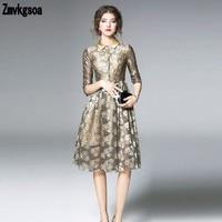 Zmvkgsoa אביב נשים שמלה נקבה קו תחרה פרחונית אלגנטית פיטר צווארון מחבת שמלות גברת משרד V132 עם נצנצים קצרים