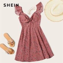 SHEIN Pink Boho ดอกไม้ Ditsy คอ Knot Ruffle Trim ฤดูร้อน Dress ชุดสตรี V คอสูงเอวชุดเซ็กซี่