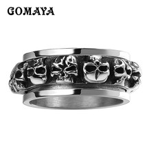 GOMAYA Mens Rings Skull Classic Black Cool Vintage Biker Punk Halloween Jewelry 316L Stainless Steel  for Man Women Gift