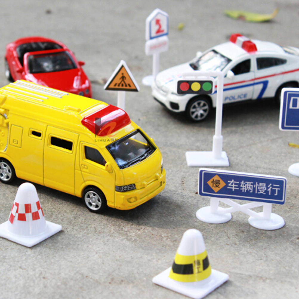 56pcs/set DIY Children Kids Gifts Toys model scene toy sign road sign roadblock traffic sign Toy Accessories