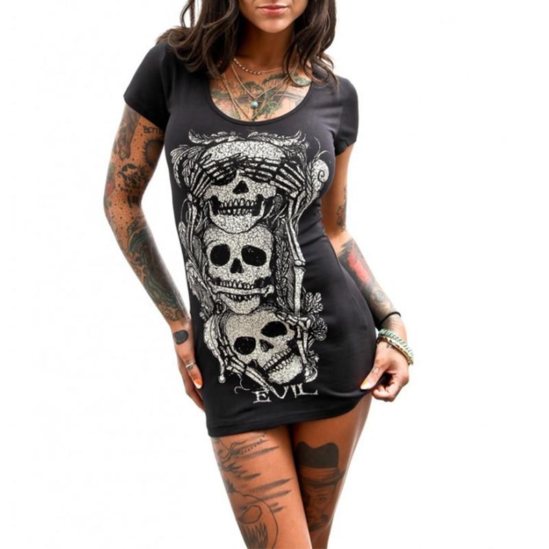 Black Skull Printed Evil font b Dress b font Women Short Sleeve T Shirt font b