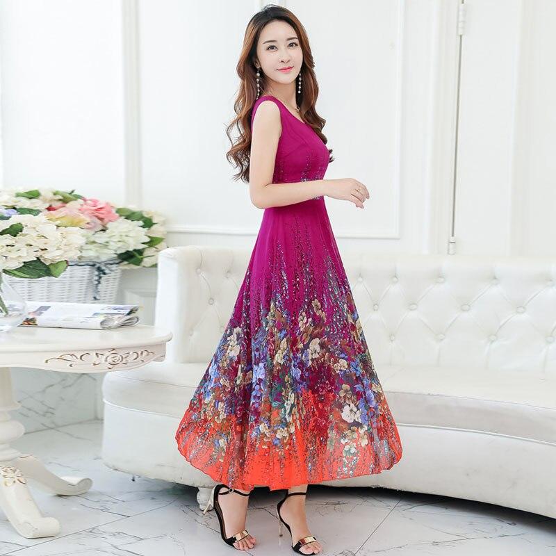 2018 nouvelle grande taille 4XL bohème robe d'été femmes imprimé longue robe à manches courtes bord de mer vacances ver à soie robe en soie - 5