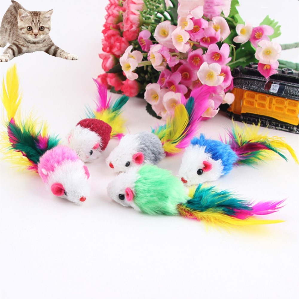 5pcs/lot Plush False Mouse Cat Toy For Training Funny Playing Pet Toys Teaser With Colorful Lovely Feature Pet Supplies