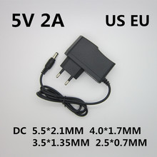 Adaptador de potência, 5 v 2a 2000ma ac 100 v-240 v para dc 5 v volt conversor de transformador potência carregador de fonte para caixa de tv led tomada eu