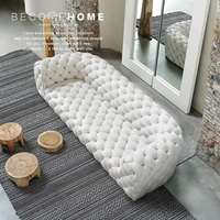 Spain Design 255cm Sofa with Armrest / Ornamental stitch Capito / Fabric or Leather Upholstery