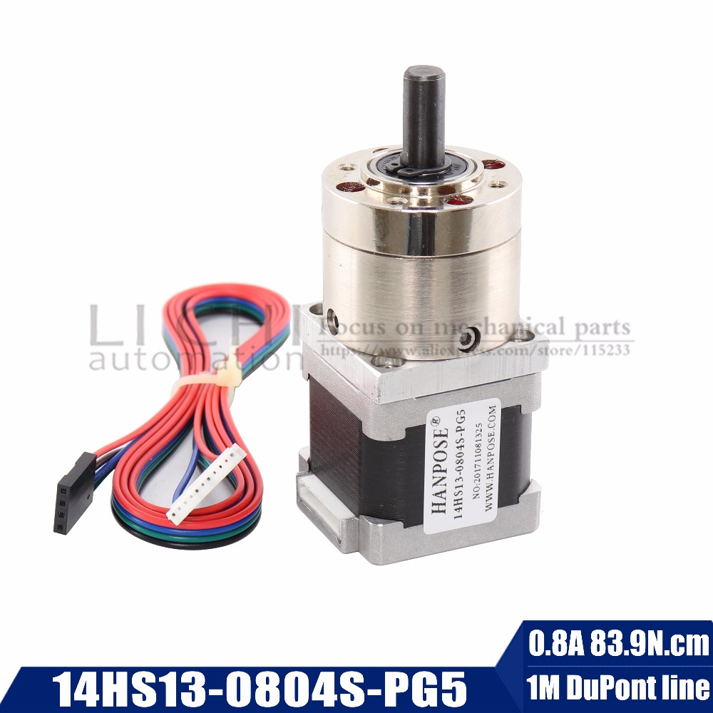 Free Shipping 5:1 Planetary Gearbox Nema 14 Stepper Motor All Ratio  0.8A For DIY CNC Robot 3D Printer 14HS13-0804S-PG5