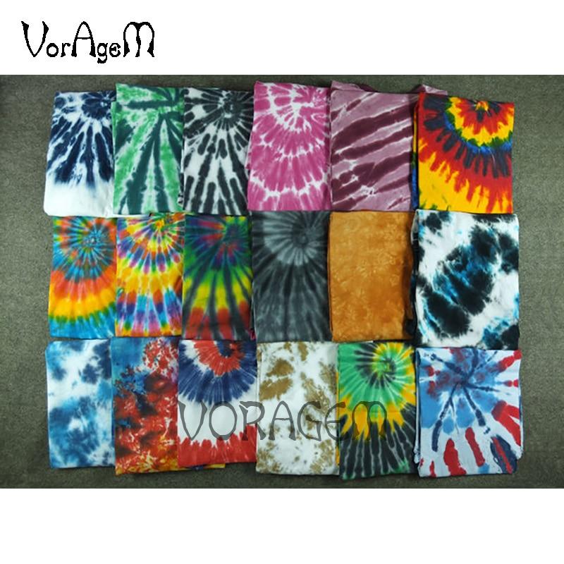 Pria Musim Panas Buatan Tangan Dasi Dye T Shirt Mode Spiral Bintang Ray Colorful Tops Hipster Skateboard Streetwear Pria 100% Cotton Tees