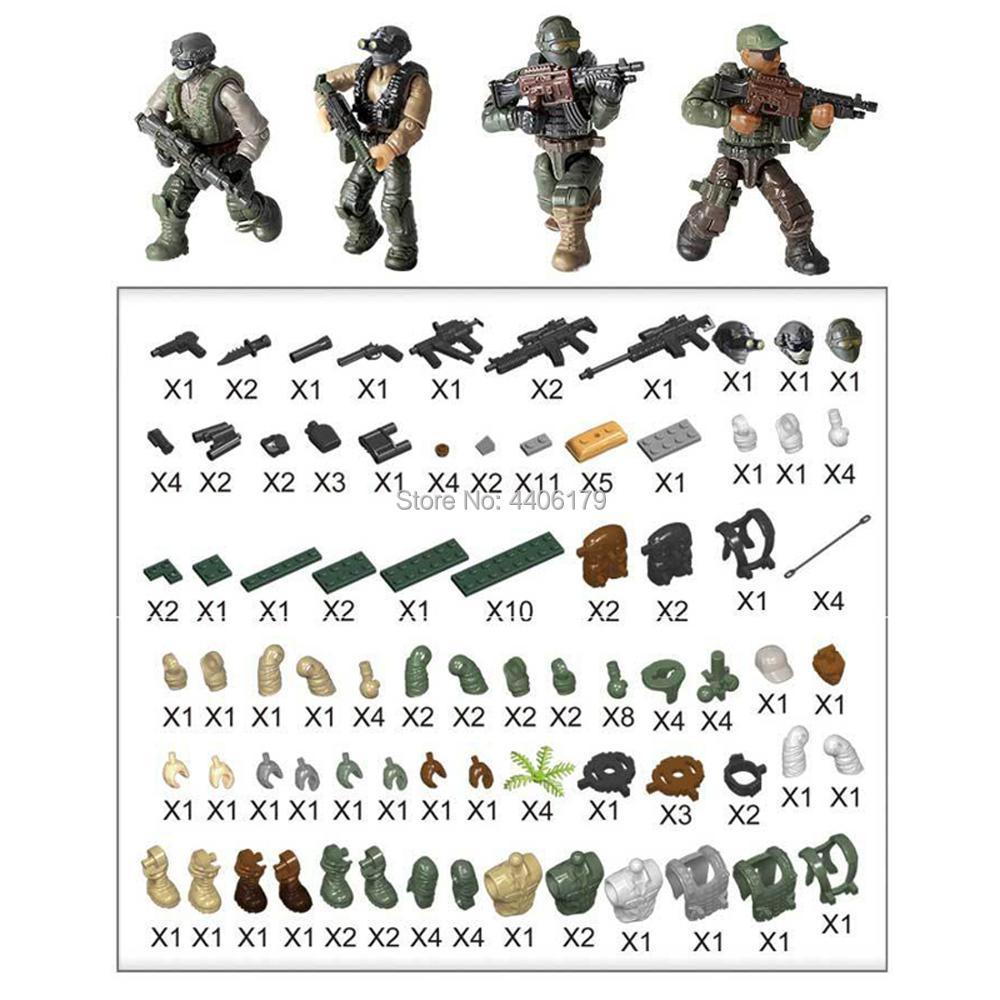 6pcs//set Military Desert Land force Army Building Blocks Bricks Figures Toys