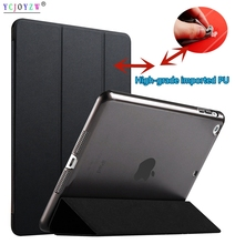 цена на Case Cover For 2014 Apple ipad Air 2 : A1566`A1567 case ,PU Leather Smart Cover + PC case Auto Sleep protective shell-YCJOYZW