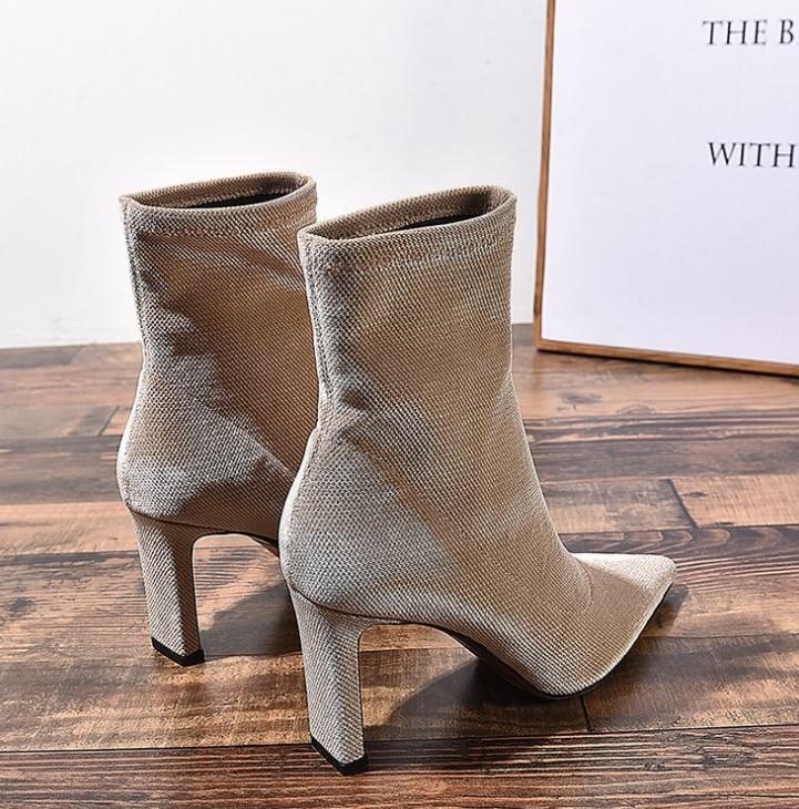 HUANQIU 2018 sonbahar/kış yeni Moda ince çizmeler elastik çizmeler kadın tüp çorap çizmeler sivri burun kalın yüksek topuk çizmeler ZLL600