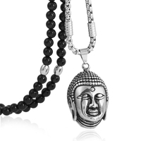 BLEUM CADE Stainless Steel Calm Meditating Buddha Head Pendant Necklace with Black Natural Agate Stone Chain 26