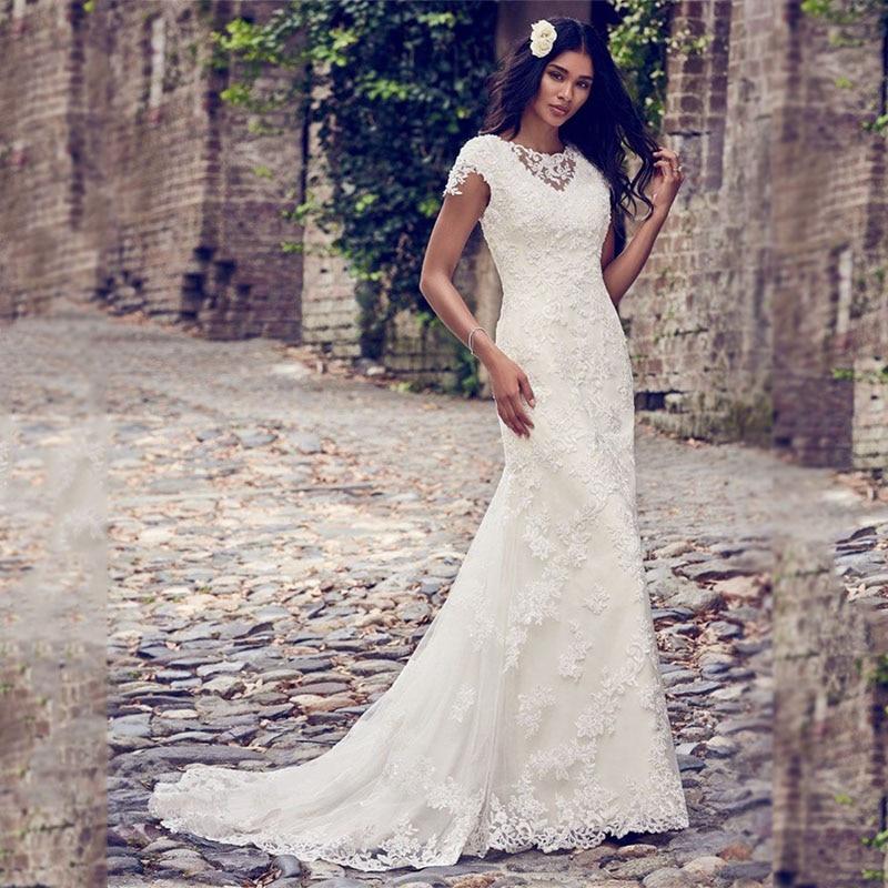 Romantic Illusion V Neckline Mermaid Sheath Wedding