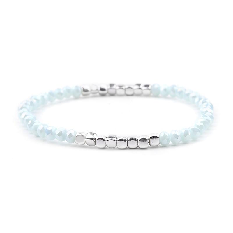 BOJIU многоцветные Кристальные браслеты для женщин золотые акриловые медные бусины розовый белый черный серый женский браслет с кристаллами BC226 - Окраска металла: 19-Light Blue Silver