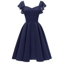 Dressv темно-синее коктейльное платье, дешевое милое платье с рукавами-крылышками, платье на выпускной вечер, кружевные модные коктейльные платья на молнии