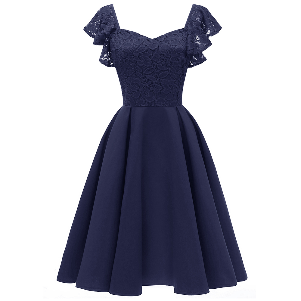 Dressv dark blue   cocktail     dress   cheap sweetheart neck cap sleeves graduation party   dress   lace zipper fashion   cocktail     dresses