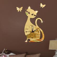 3D Cute Cat Butterfly Mirror Wall Clock Modern Design Quart Movement