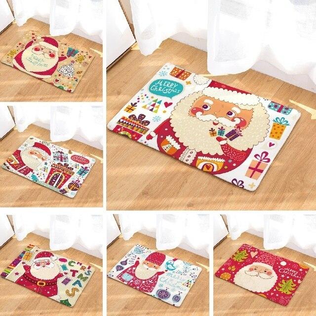 Weihnachten Bodenmatte Santa Gedruckt Wildleder Teppich Bad Wc Teppich  Badematte Dekoration Küche Außen Lustige Tür Matte