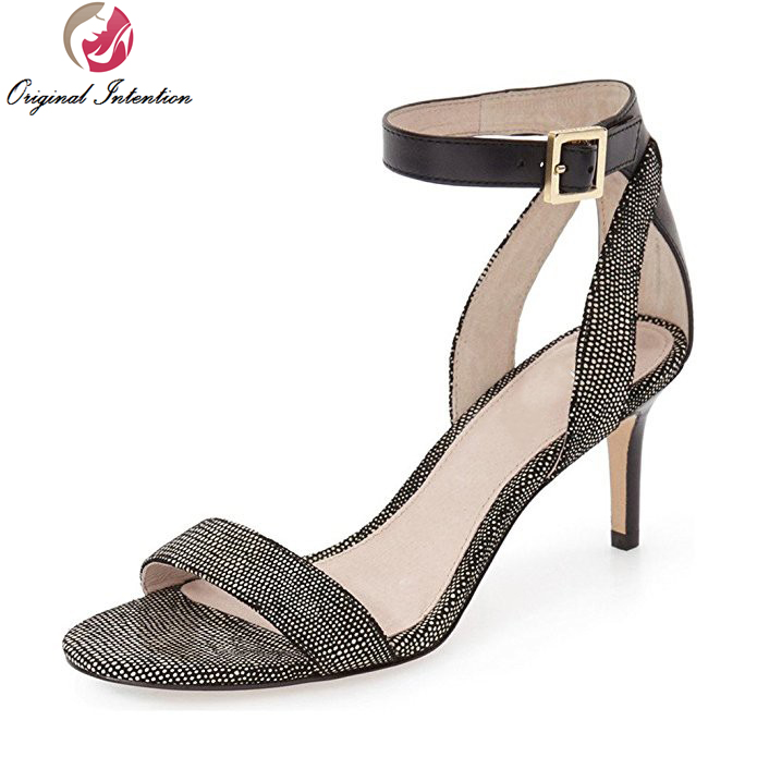 ФОТО New Design Women Sandals Stylish Open Toe Thin Heel Sandals Fashion Black Dark Grey Silver Shoes Woman Plus US Size 4-15