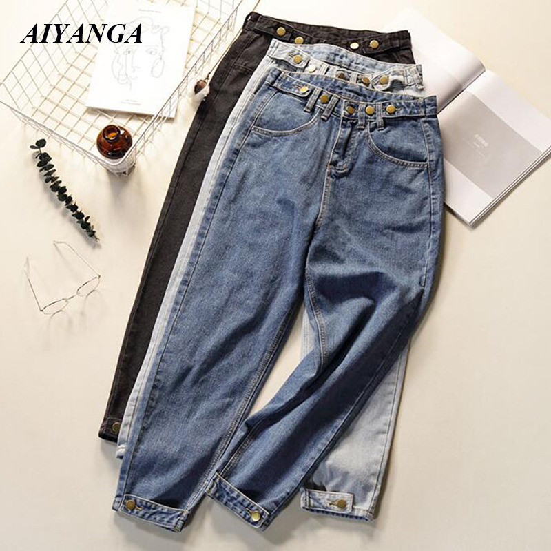 New Boyfriend Jeans Vintage High Wist Jeans Women 2019 Spring Summer Denim Harem Pants Loose Casual Trousers Mom Jeans