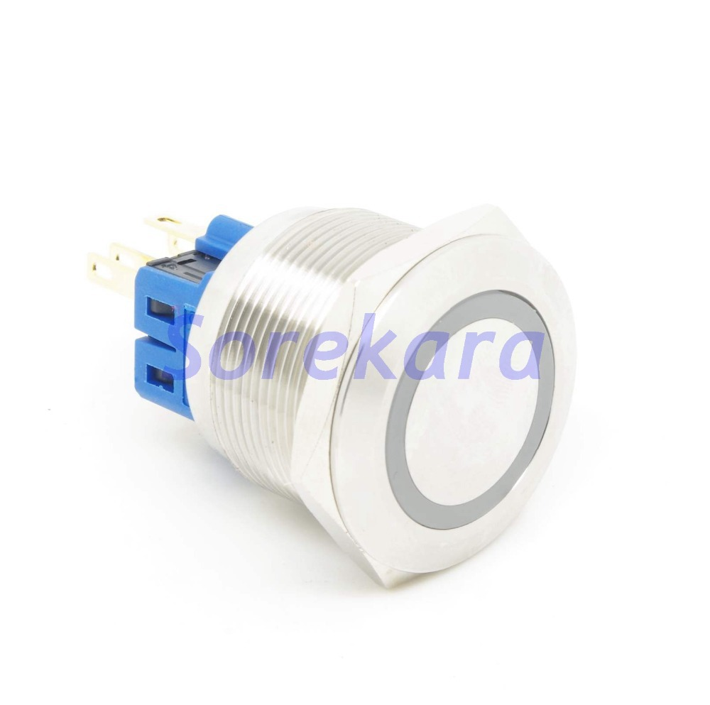 цена на 25mm Ring LED Color ORANGE/WHITE/YELLOW/BLUE/GREEN/RED Momentary 2NO 2NC Stainless Steel Pushbutton Switch For Auto IP65 UL