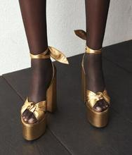 Sexy Peep Toe Bowknot Thick Heels Sandal Lace up Platform High Heel Shoes Woman Summer Gold Leather Dress Heels