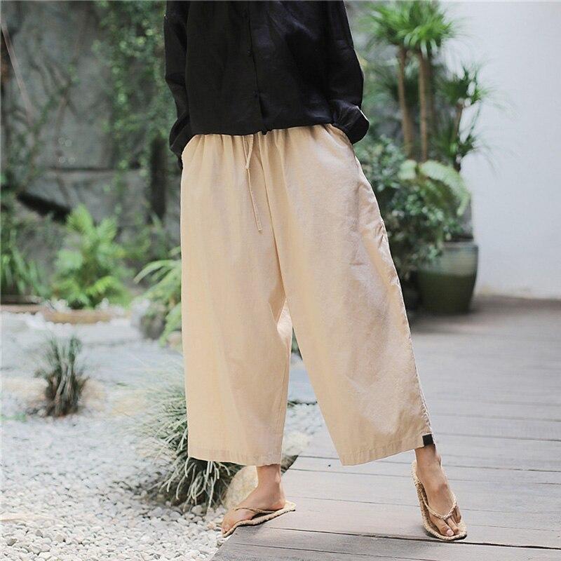 Women Wide Leg Pants Belt Cotton Linen Solid Color Vintage Trouser Pockets Summer New Casual Women Pants