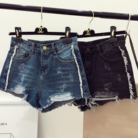 DOORATU 2017 Summer New Arrived Vintage Women High Waist Tearing Hole Short Jeans Female Casual Loose