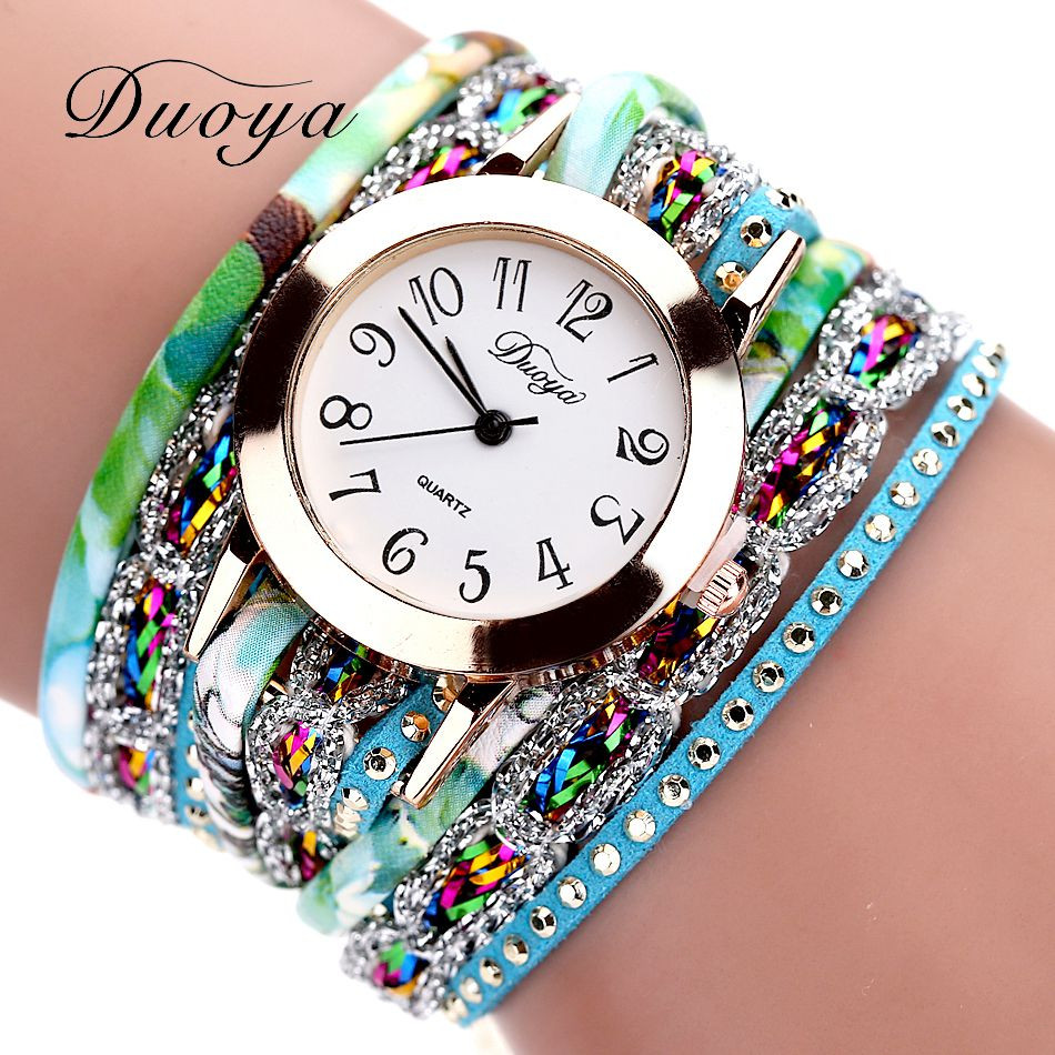 Duoya Retro Luxury diamond watch Women Popular Quartz Watch Luxury Bracelet Flower Gemstone Wristwatch Clock montre femme A7 in Women 39 s Watches from Watches