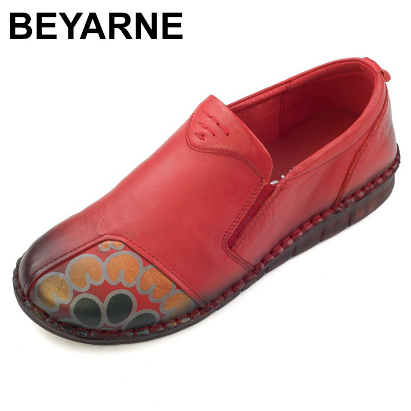 BEYARNE  Loafers Woman Genuine Leather Flat Shoes Female Comfortable Casual Shoes Real Leather Handmade Women Flats 2017 fashion women shoes genuine leather loafers women mixed colors casual shoes handmade soft comfortable shoes women flats