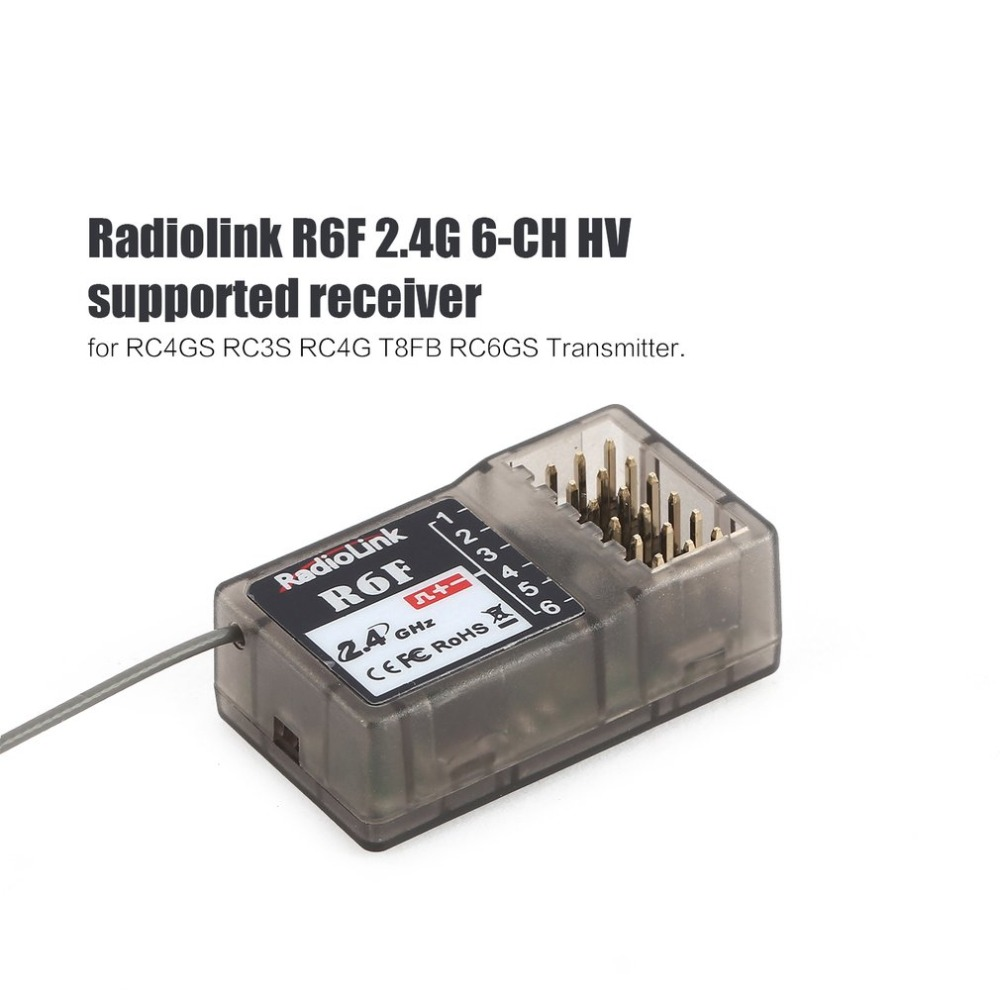 Radiolink R6FG 2.4GHz 6 CH FHSS Receiver High Voltage Gyro Integrated For RC4GS RC3S RC4G T8FB RC6GS Transmitter RC Car Boat 1pc radiolink rc3s 4ch 2 4g digital radio control system gun transmitter r4eh receiver lcd programable for rc car boat wholesale