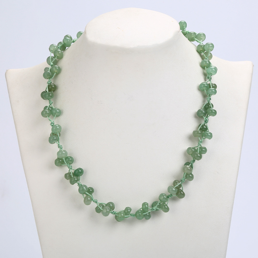 3A Bead Chain Malachite Woven Necklace Natural Stone Healing Crystal Boutique Ladies Handmade Pearl Chain Choker Necklace Reiki