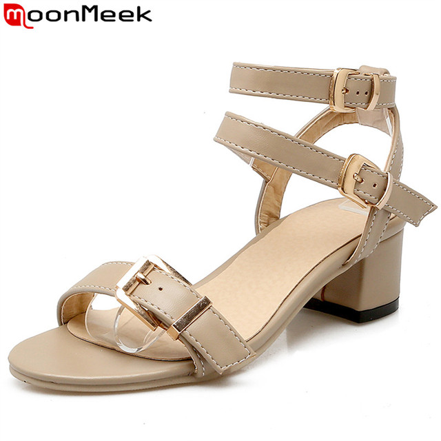 MoonMeek 2018 women sandals simple comfortable fashion buckle med heels summer shoes sweet ladies college style big size 34-43