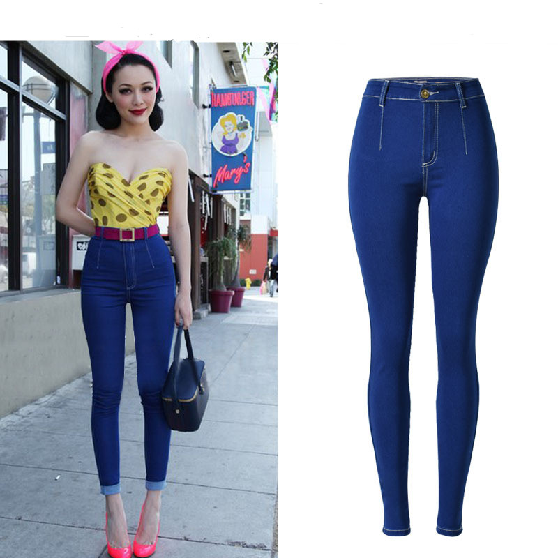 Dooratu Fashion High Waist Jeans Woman Skinny Jeans Slim Blue Denim Pencil Pants Stretch Women Plus Size Sexy Jeans Pants Calca rosicil women jeans plus size stretch skinny high waist jeans pants women blue pencil casual slim denim pants top 003