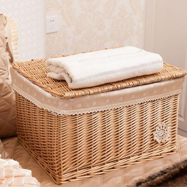 Natural Woven Wicker Rattan Baskets Baby Toys Laundry Sundries Storage  Basket Box With Lid Home Organizer