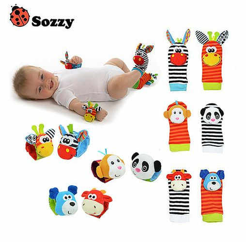 Newborn Baby Toys 0-12 Months Soft Animal Baby Rattles Infant Plush Sock Baby Toy For Kids Toddlers Wrist Strap Baby Foot Socks