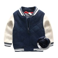 Kids Boys winter coat thick children baseball uniform winter jacket
