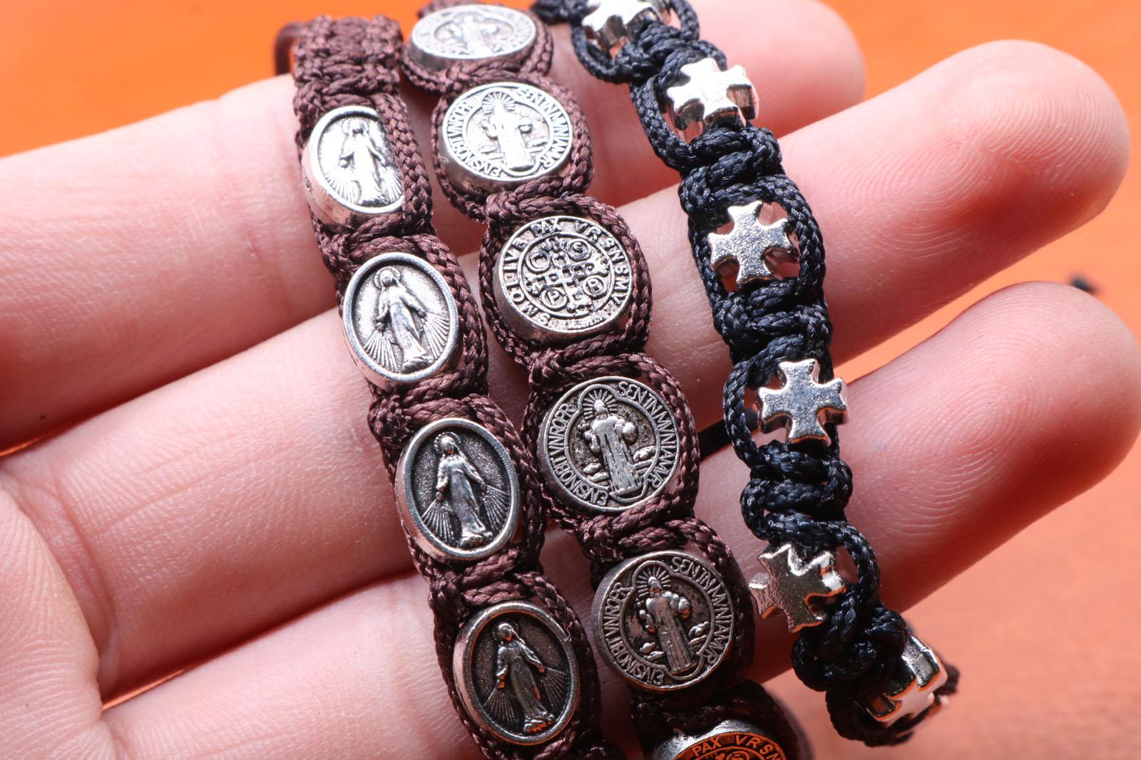 Catholic Handmade Braided Rosary Bracelet, St Mary Metal Beaded Bracelet, Cross Classic Prayer Bracelet