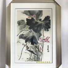 Suzhou embroidery finished product pure hand-embroidered 1-4 silk exquisite realistic mood lotus series painting