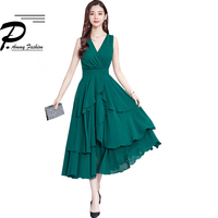 Fashion Vestidos 2019 Women Sexy V Neck Sleeveless Layer Ruffle Elegant Party Dresse Quality Maxi Long SunDress Beach Dresses