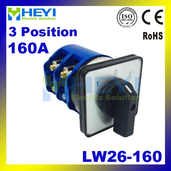 Universal Switch 160A 3Postions LW26-160 Changeover Control Rotary Cam Combination Switch changeover switch lw6 1 a028 10a 380v universal changeover combination switch one knots lw6