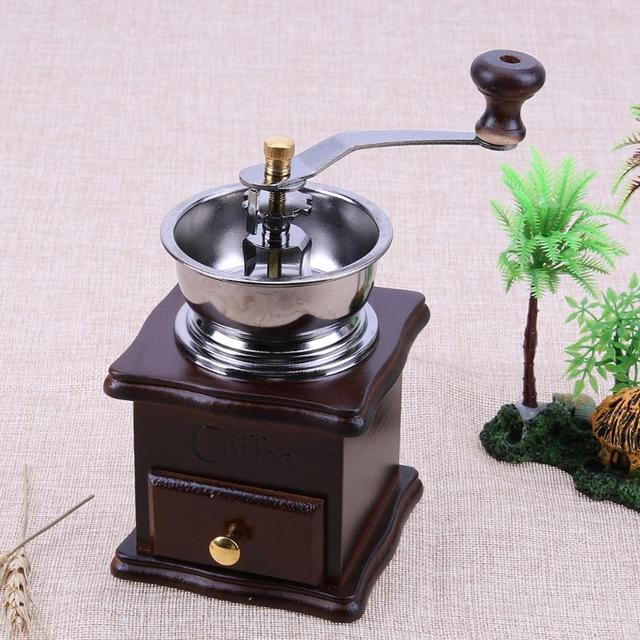 US $11 15 27% OFF|ManuaCoffee Grinder Retro Wood Stand Design Handy Coffee  Bean Mill Maker Cafe Bean Grinder Machine Vintage Antique Grinders-in