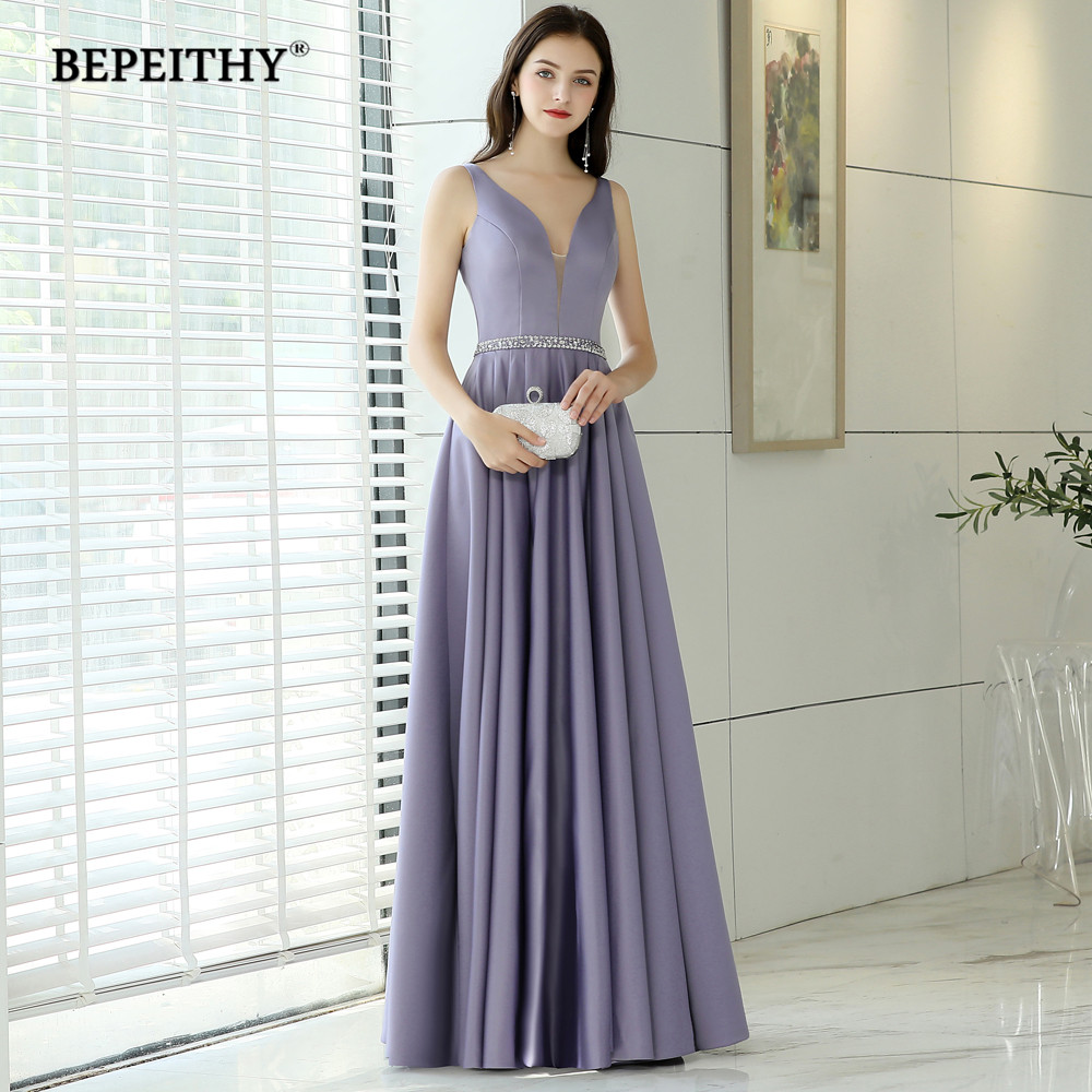Simple But Elegant V Neck Long Evening Dress Party Elegant Beads Belt Vestido De Festa Prom
