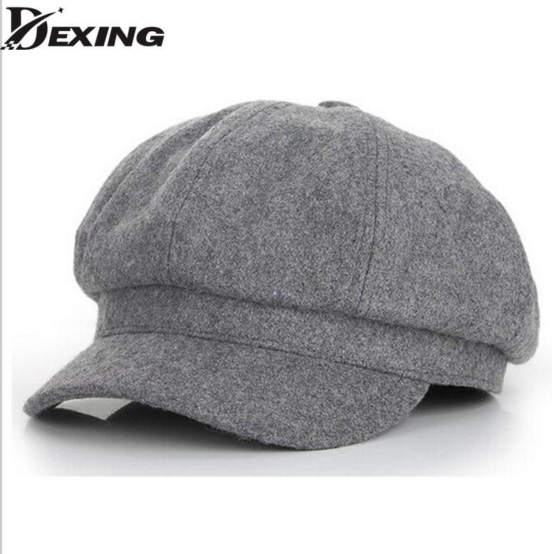 70c32920b 2018 grey Vintage Fashion Octagonal Cap women Men Woolen Newsboy Cap  Painter ladies Beret Hat