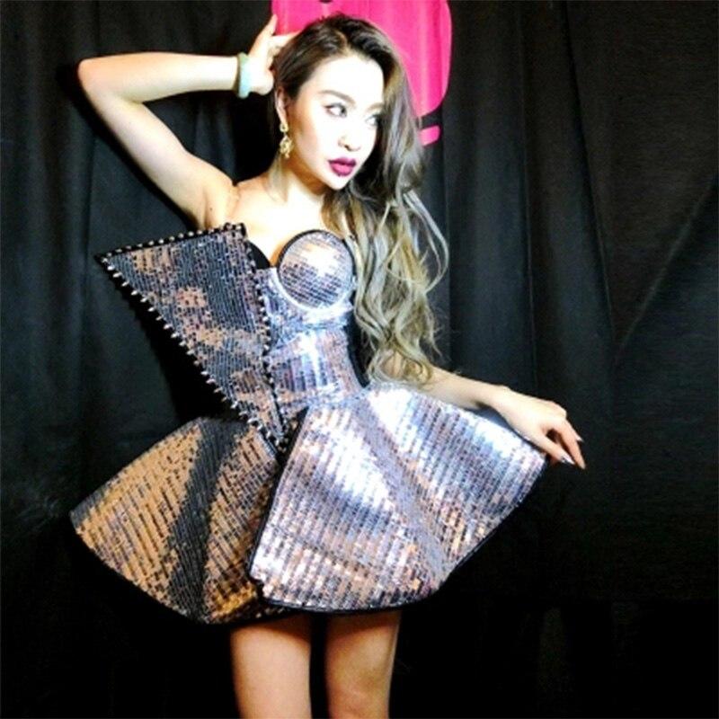 Nouveau Sexy femme argent Costumes chanteur danse porter argent paillettes combinaisons robe Bar DJ DS vêtements femmes danseurs scène Costume