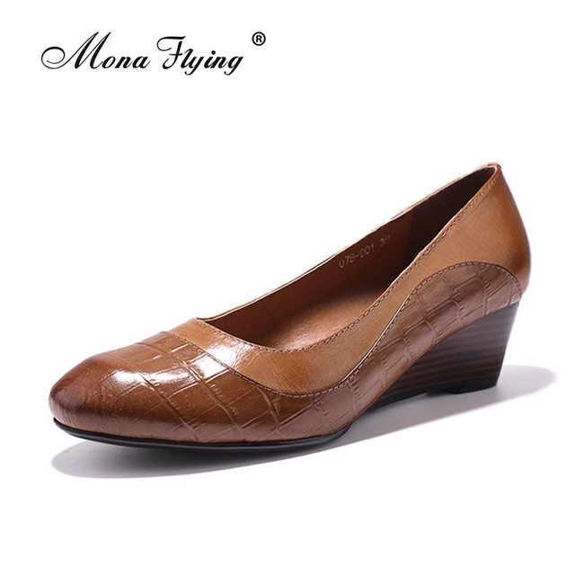 Women S Pumps Shoes 2017 Brand Genuine Leather Wedges Dress For Office Las