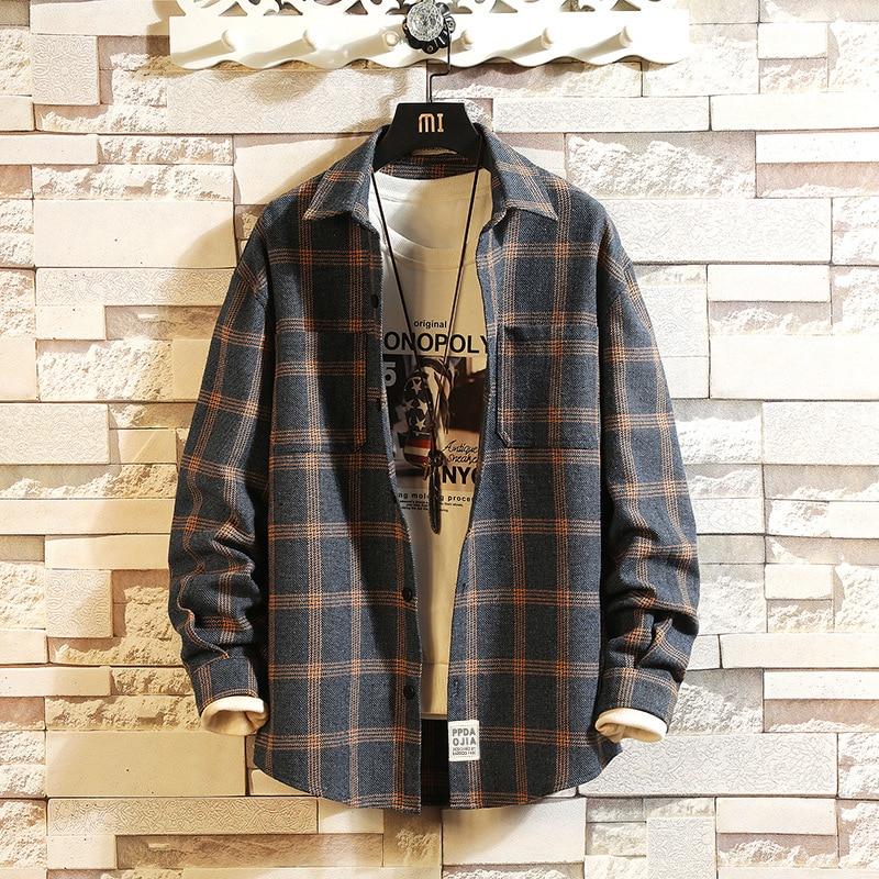 Plaid High Quality Janpan Style 2019 Spring Long Sleeve Shirt Men Casual Plus Asian Size M-5XL