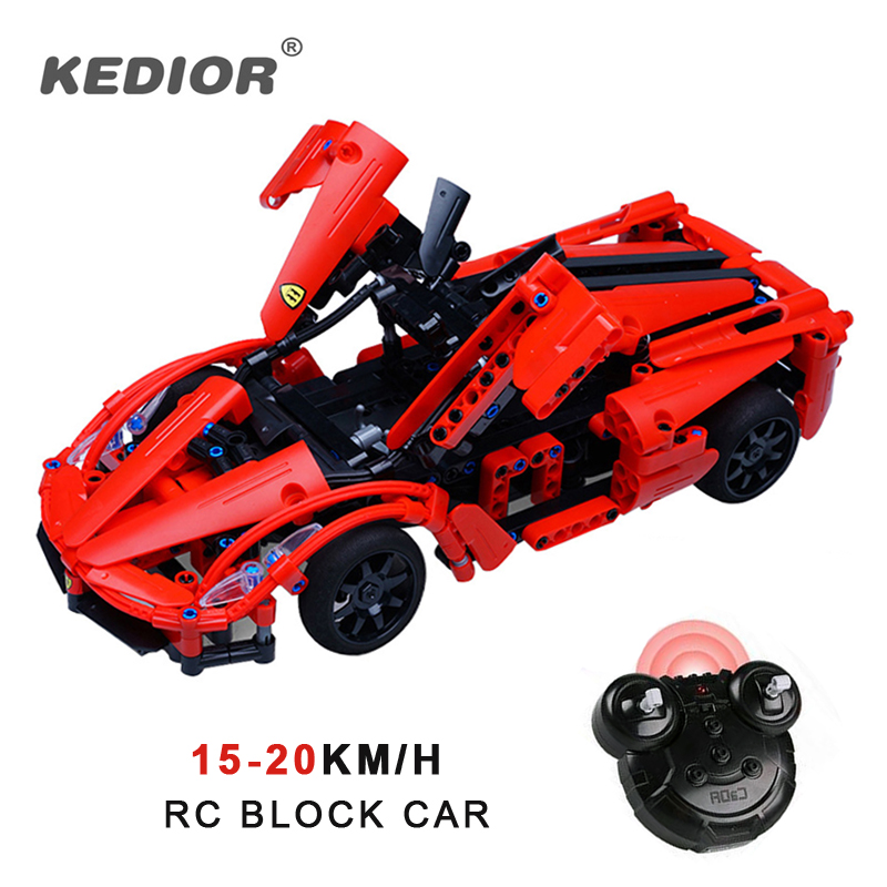 High speed RC Block Remote control Car 15km/h Technic Building Blocks Bricks Educational Toys Car for Boys