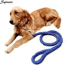 Sqinans ручной Плетеный ошейник и поводок для собак, Классический нейлоновый вязаный поводок для средних и больших собак, поводок для домашних животных 120 см
