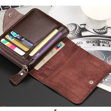 Hot Quality Soft PU Leather Men Wallets Fashion New Zipper Open Black Brown Colors Multi Function Credit Card Holder Wallet W029